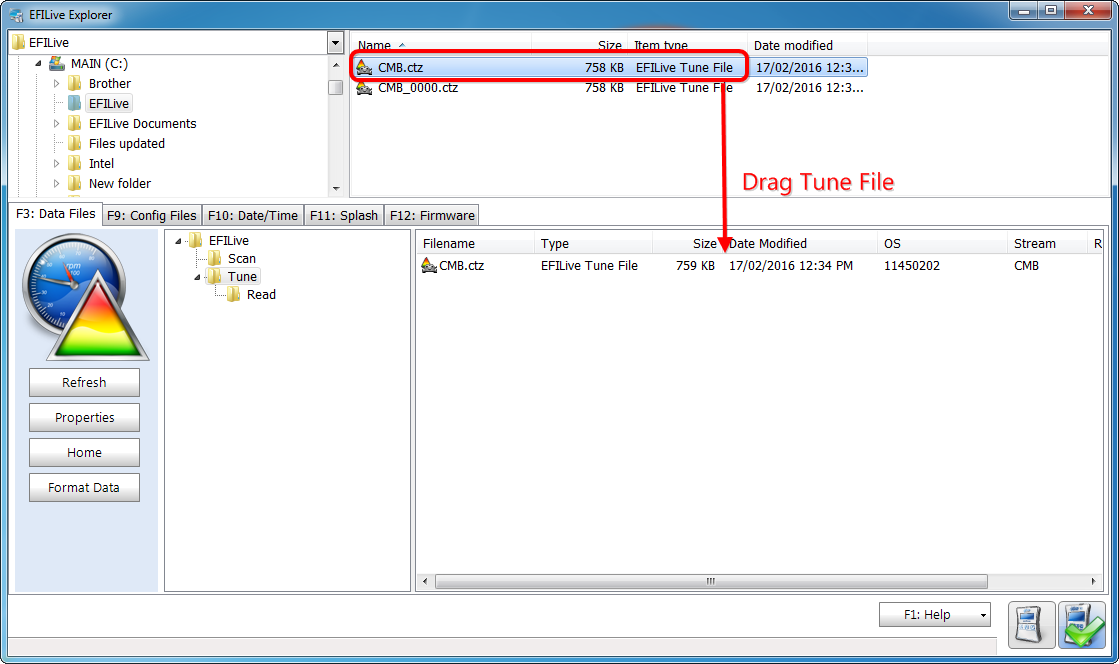Move Tune and Log Files to/from FlashScan V2/AutoCal